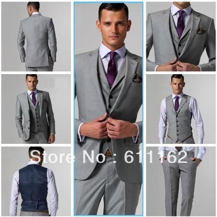 free SHIPPING/custom suit/Light Grey WEDDING Groom WEAR Tuxedos Best ...