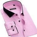 Autumn New 100% Cotton Men Casual Shirts High Quality Patchwork Turn-down Collar Long Sleeve Fashion Plaid Mens Dress Shirt