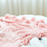 New knit Chăn Bóng Khăn bông Vẻ Đẹp khăn mền con người lớn mùa hè Bìa Home Sử Dụng Màu Hồng Trắng Xám bán buôn FG480