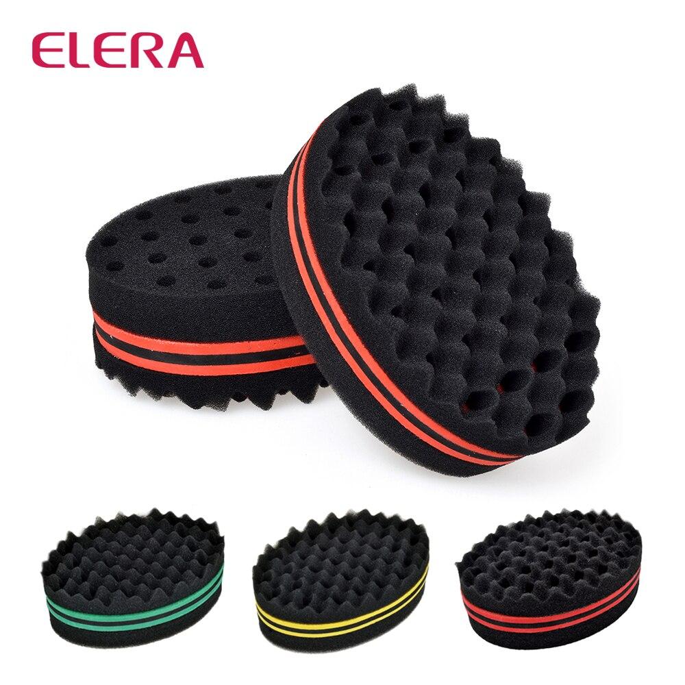 ELERA Oval Double Sides Magic Twist Hair Brush Sponge,Sponge Brush For Natural,afro Coil Wave Dread Sponge Brushes Free Ship