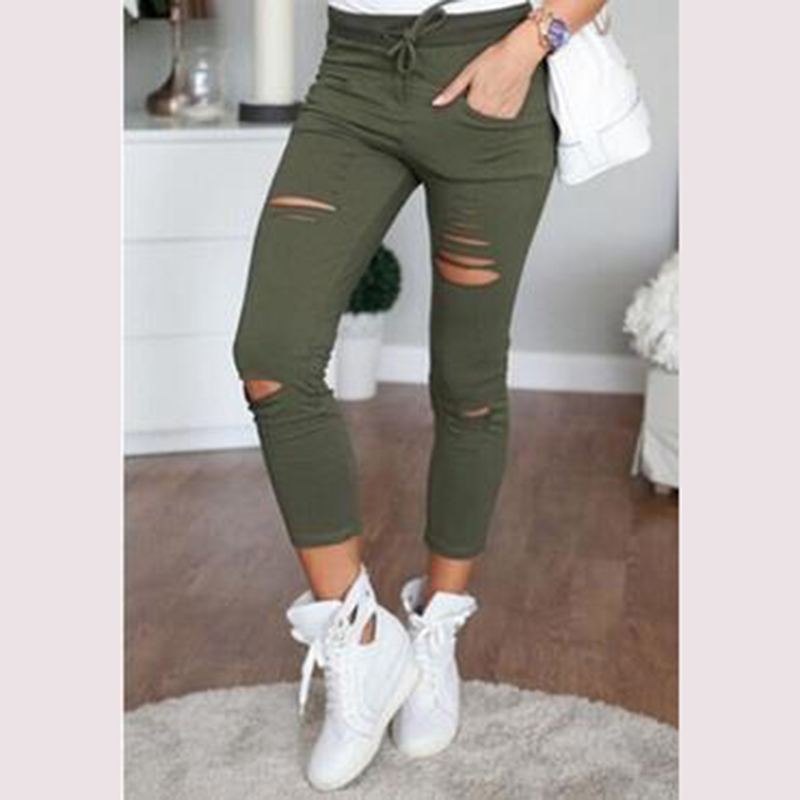 Fashion Womens Ladies Stretch Faded Ripped Slim Fit Skinny Denim Jeans Summer Style Elastic Drawstring Hole Pants Trousers 2017 spring hole elastic jeans leggings jean trousers denim jeans womens slim skinny pencil pants ripped jeans for women 1407