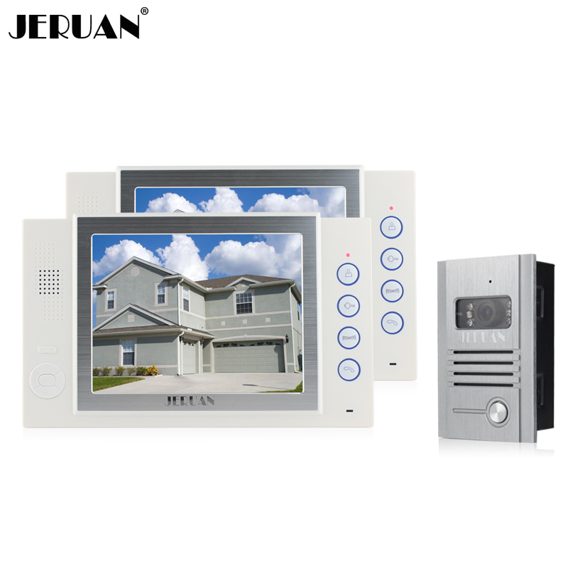 JERUAN 8 inch video door phone doorbell intercom system 1V2 doorphone speaker intercom embedded outdoor metal shell jeruan new doorbell intercom doorphone wireless video door phone with memory image station outdoor night vision function