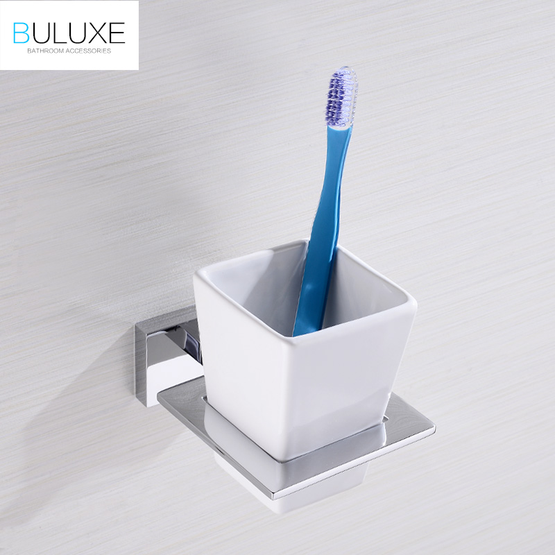 BULUXE Luxury Brass Chrome Finish Toothbrush Cup & Tumbler Holders With Ceramic Cup Wall Mounted Bathroom Accessories HP7754 wholesale and retail golden brass diamond ceramic base tooth brush cup holder tumbler holders with dual ceramic cups