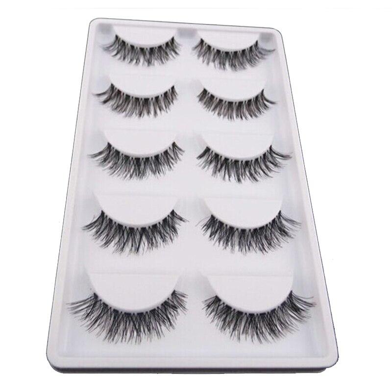 30pair Women Makeup Thick Cross False Eyelashes Reusable Black
