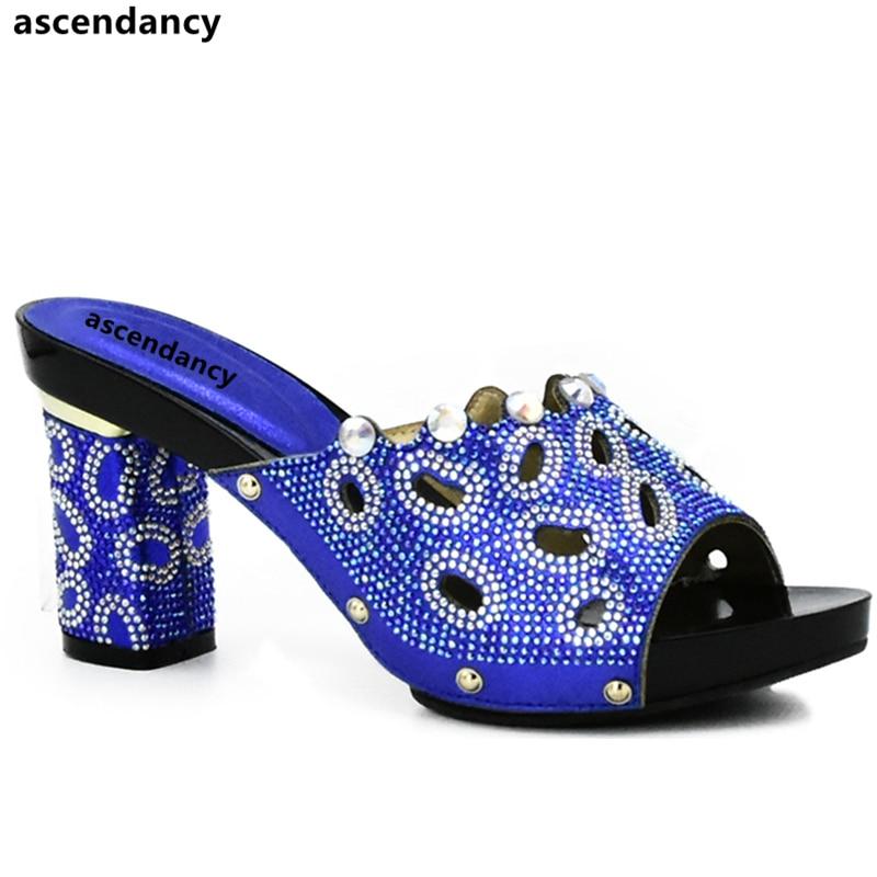eb654ecbaa687 Bleu Chaussures Pour Royal Haute Femme fuchsia Africain Parties pourpre Les  Talons Qualité Strass Mariage Africaines Luxe rouge argent ...