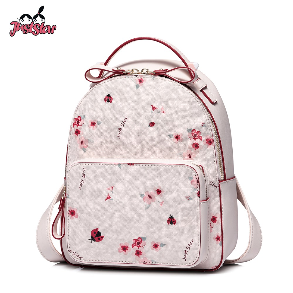 Just Star Women's Leather Backpack Female Fashion Flower Printing Shoulder Bags Ladies Romantic Pink Spring Travel Rucksack