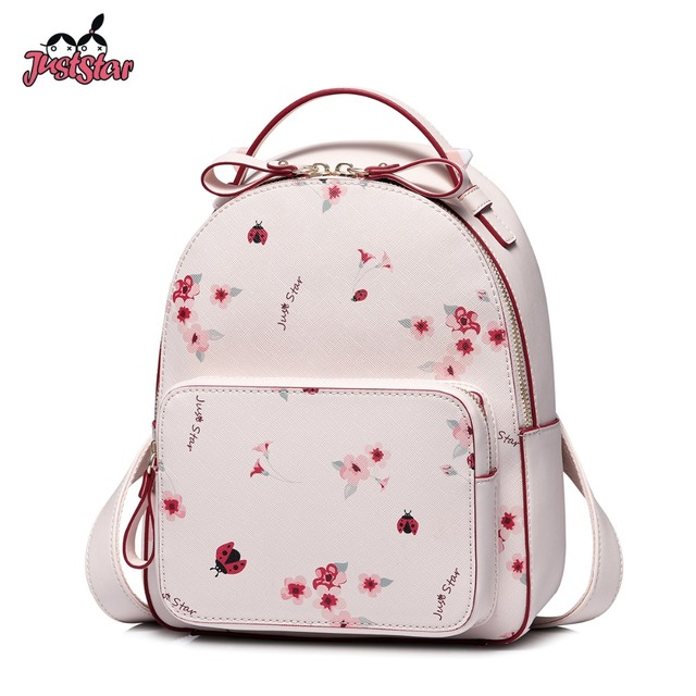 78d6c630a96d JUST STAR Women s Leather Backpack Female Fashion Flower Printing Shoulder  Bags Ladies Romantic Pink Spring Travel Rucksack