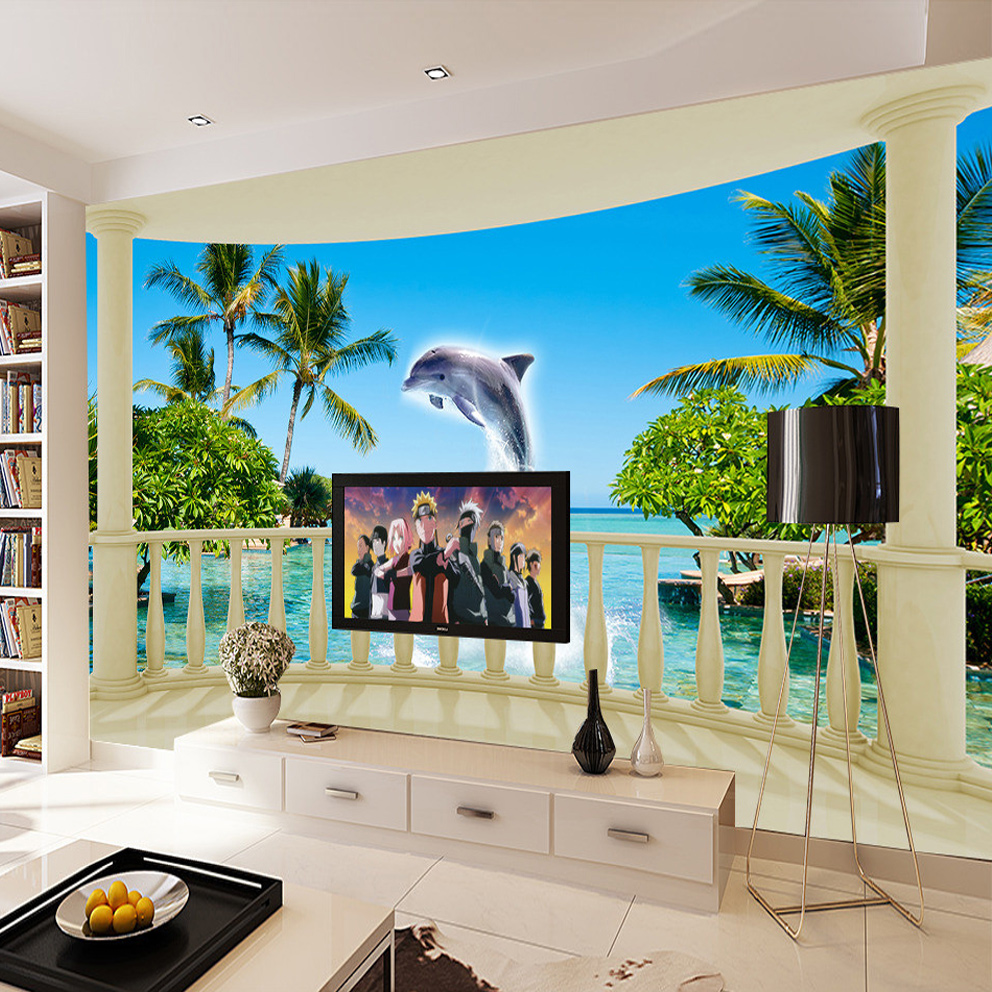 popular space wall mural buy cheap space wall mural lots from custom wall mural space expansion large murals wallpaper balcony sea view dolphins living room tv sofa