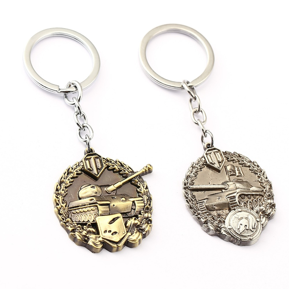 World Of Tanks Key Chain Calm Medal Key Rings For Gift Chaveiro Car Spartans Medal Keychain Jewelry Key Holder Souvenir YS11609