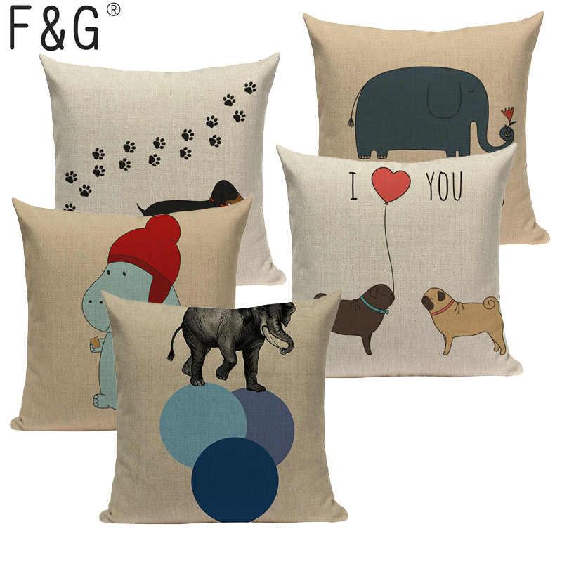 Pillow Cushion Cover Case Dachshund Decor Cartoon Printed Linen Sofa Home Art