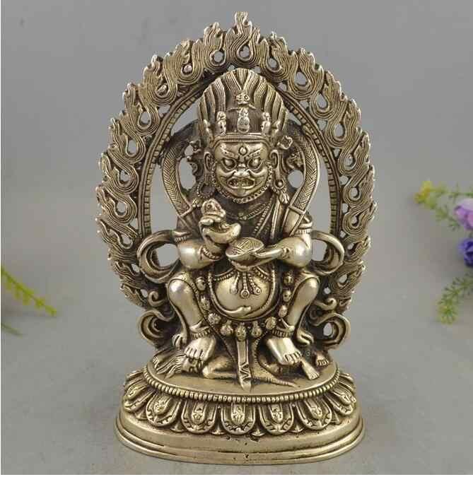 Koperen Standbeeld Prachtige tibet zilveren grote schedel doodskop netsuke sculptuur Standbeelden
