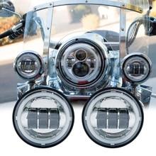 Для мотоцикла Harley, 2 шт., 4,5 дюйма, светодиодный противотуманный светильник, DRL, светодиодный противотуманный фонарь, галогенное кольцо, 30 Вт, Круглый, водонепроницаемый, 4 1/2, вспомогательная лампа ближнего света
