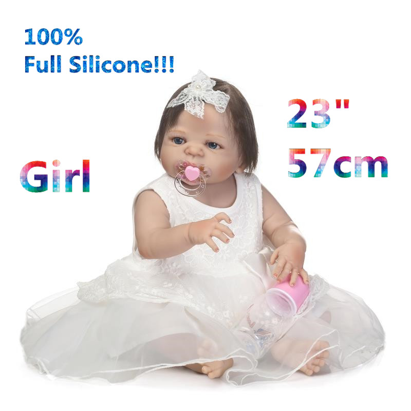 23 Early Education Doll Reborn Babies 100% Full Silicone Brinquedo Silicone Lifelike Baby Dolls Reborn Girl Kids RB16-09H10 lego education 9689 простые механизмы