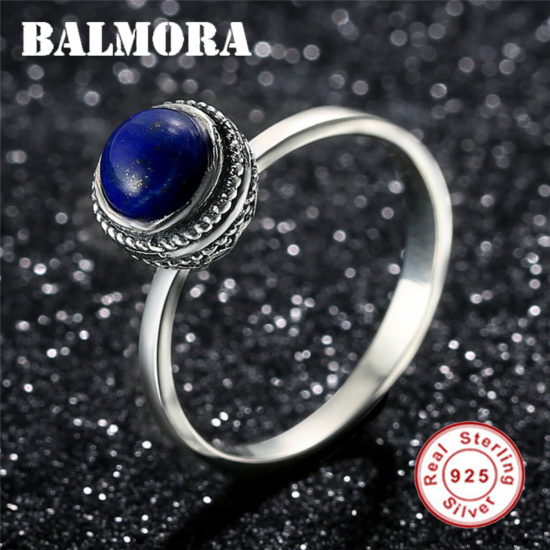 4f6b6fd96 Mouse over to zoom in. BALMORA 100% Real 925 Sterling Silver New Women  Finger Rings Vintage Lapis Lazuli ...