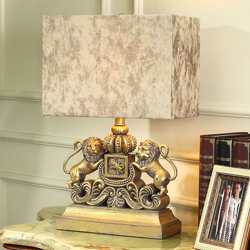 Luxury Modern Table Lamp A Pair Of Lions Iron Art Living Room Abajur