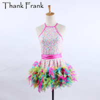Colorful Chicken Feather Latin Dress Women Girls Professional Competition Dance Dress Latin Costume Carnival Adult Costumes C536