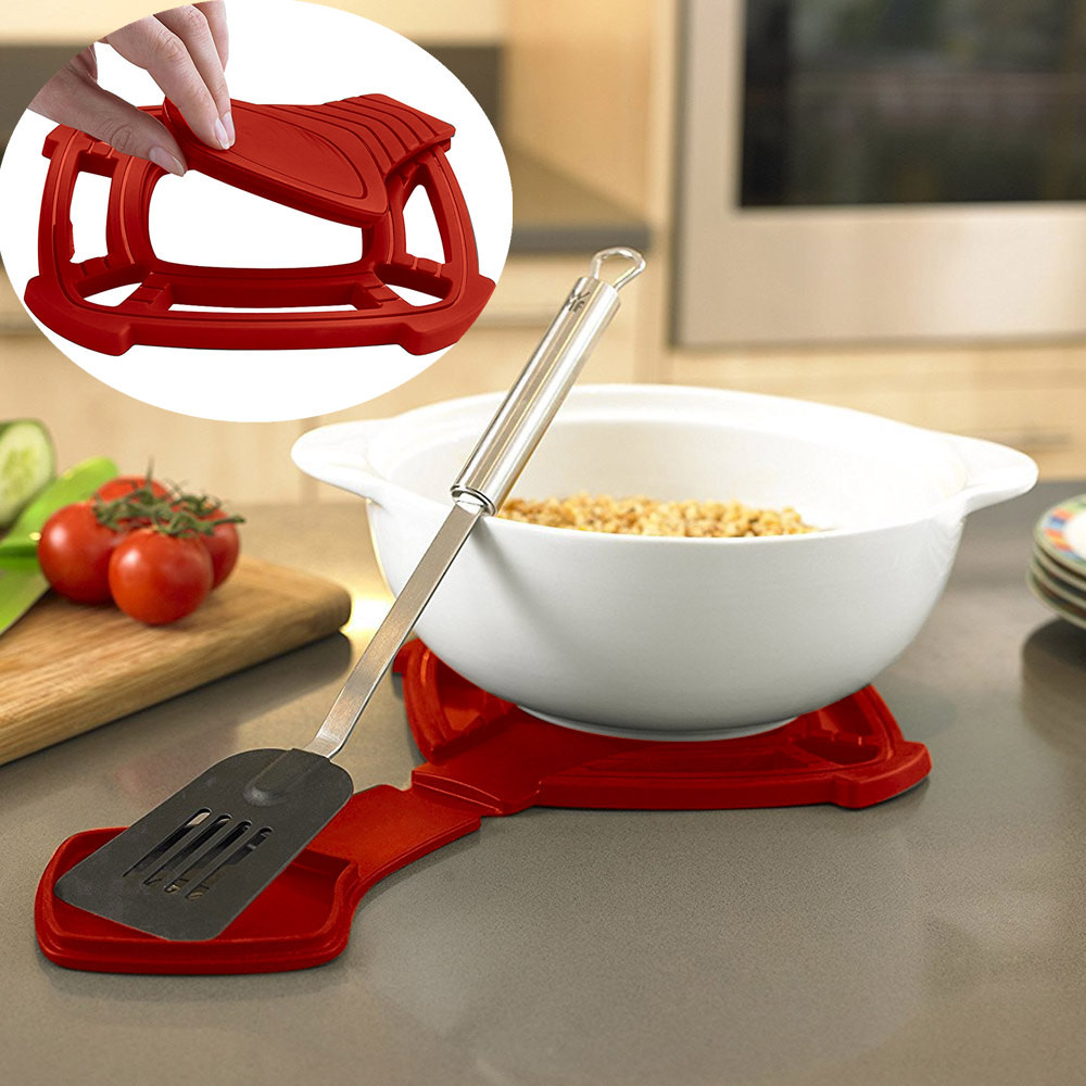 2018 New Fashion Collapsible Silicone Insulation Hot Pad With Spoon Rest Silicone Trivet Hot Pad With High Quality Hot Sale #35