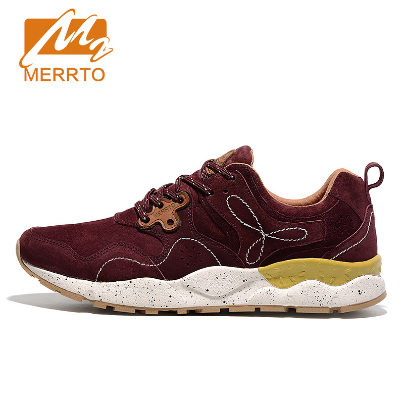 ФОТО MERRTO Skidproof Waterproof Men Walking Shoes Outdoor Cowhide Sneakers Breathable Sports Shoes Solid Walking Sneakers#18621