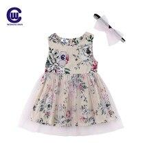 819abc604f4 Новорожденных платье для маленьких девочек летние цветочные Тюль Детское  платье без рукавов Ретро сетки сарафан повязка