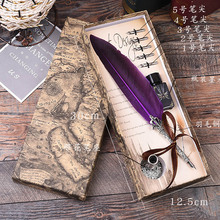 1pcs Calligraphy Feather Dip Pen Writing Ink Set Stationery Gift Box with 5 Nib Wedding Gift Quill Pen Fountain Pen Fountain pen jinhao high quality business calligraphy pen set 0 5 mm 1 0 mm nib metal fountain pen with dragon clip ink pens with gift box