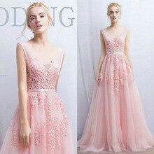 Custom wedding V Neck Lace Appliques beading Long Tulle Evening dress Party prom Dresses Pink Navy Blue gray Vestido de festa