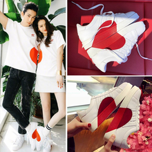 2019 White Shoes Women Heart-Shaped Flats Hot Sale Ins Sneak