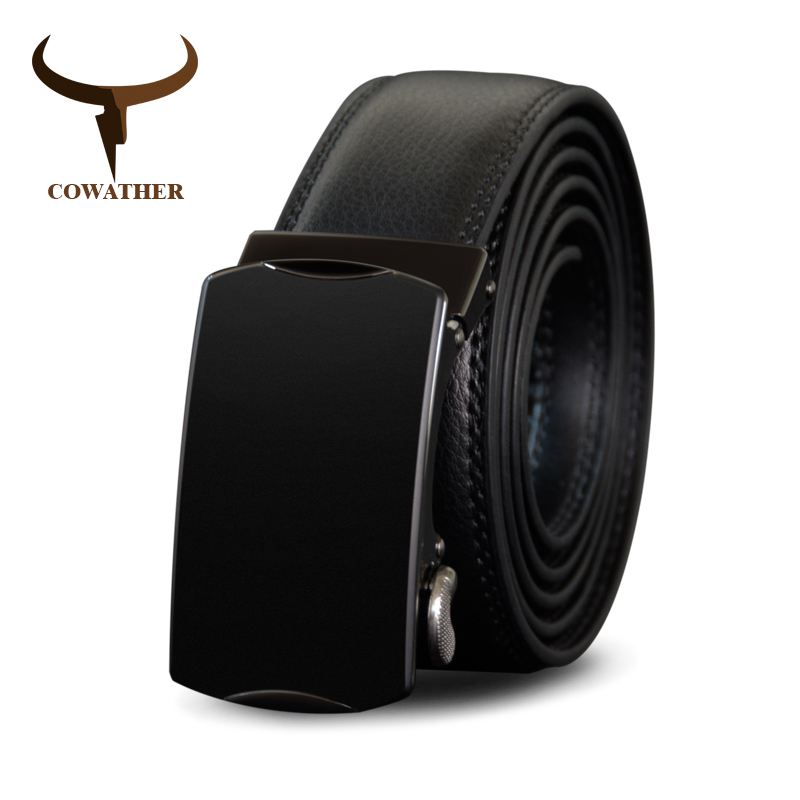 COWATHER Cow Genuine Leather   Belt   for Men Cowhide Waistband Alloy Automatic Buckle Male Strap New Arrival Buckle Men   Belts