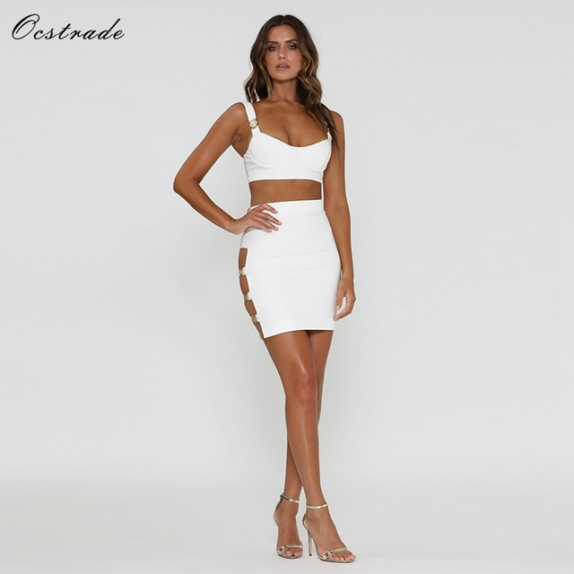 Ocstrade White Party Dress 2018 New Arrival Summer Sexy Embellished White  Women 2 Piece Dress Club Two Piece Bandage Dress Set 65468ac2adfb