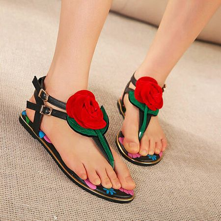 56b7e6fb4 Fashion Casual Cute New white Black Bohemia Flowers Gladiator Sandals Women  Flip Flops Flat Sandals Ladies summer designer Shoes