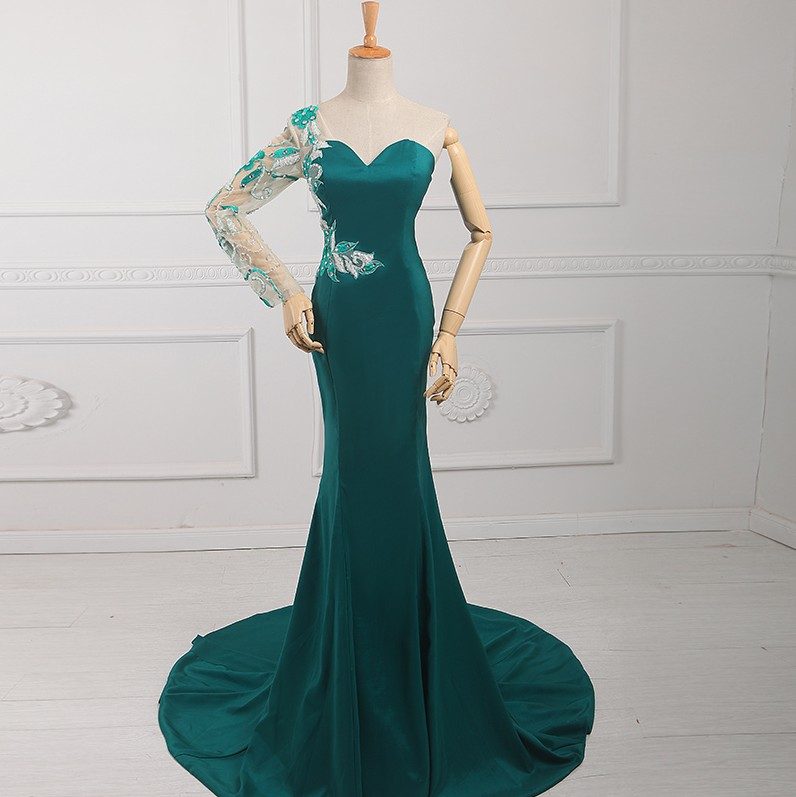 Discount Free Shipping Cwds078 One Shoulder With: One Shoulder Free Shipping Satin Party Gown Long Evening