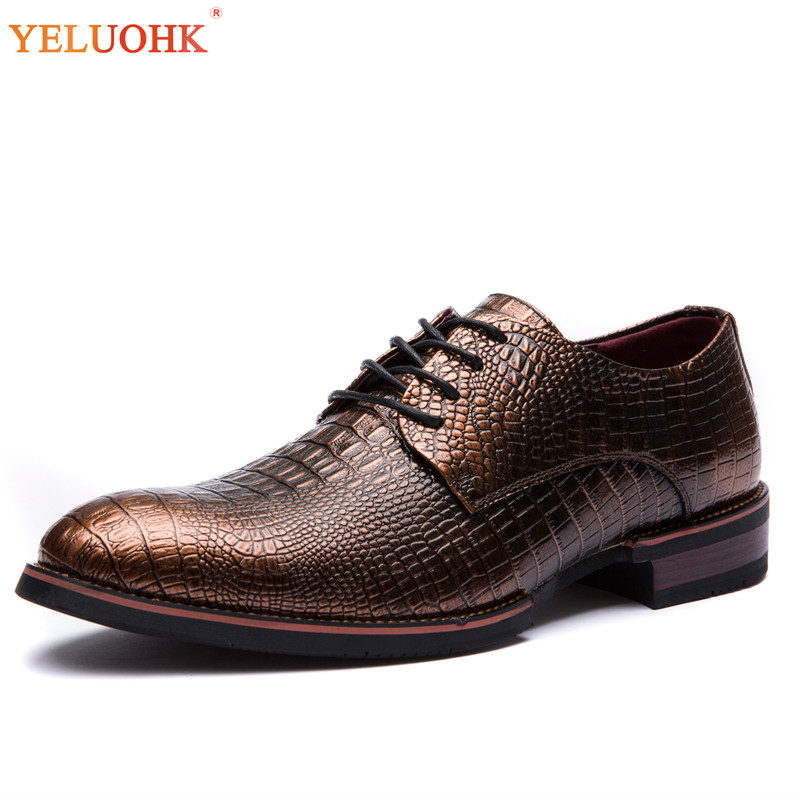 Alligator Leder Schuhe Männlichen Spitz Oxfords Für Männer Formale Vintage Männer Leder Schuhe Büro Kleid