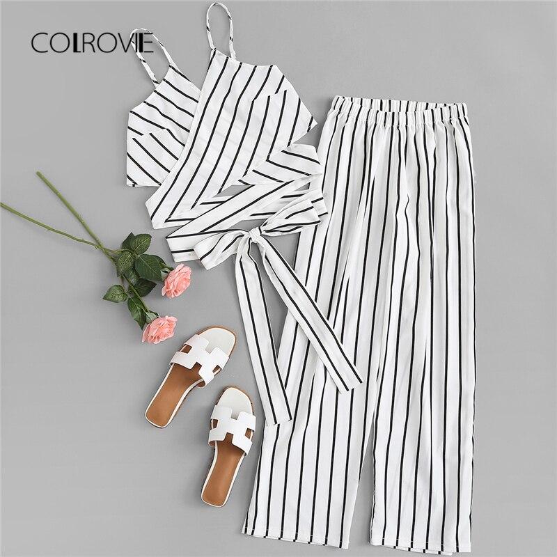 COLROVIE White Sexy Striped Knot Clothing Set Spaghetti Strap Two Piece Set Women Fashion 2018 New Sleeveless Summer Women Set