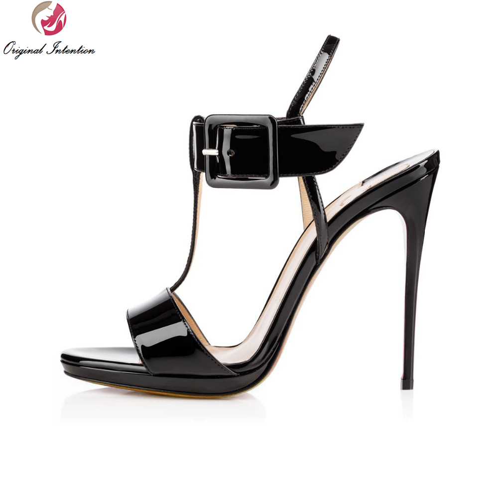 Original Intention High-quality Women Sandals PU Leather Sexy Open Toe Thin Heels Party Sandals Black Shoes Woman Plus Size 4-15 new arrival black brown leather summer ankle strappy women sandals t strap high thin heels sexy party platfrom shoes woman