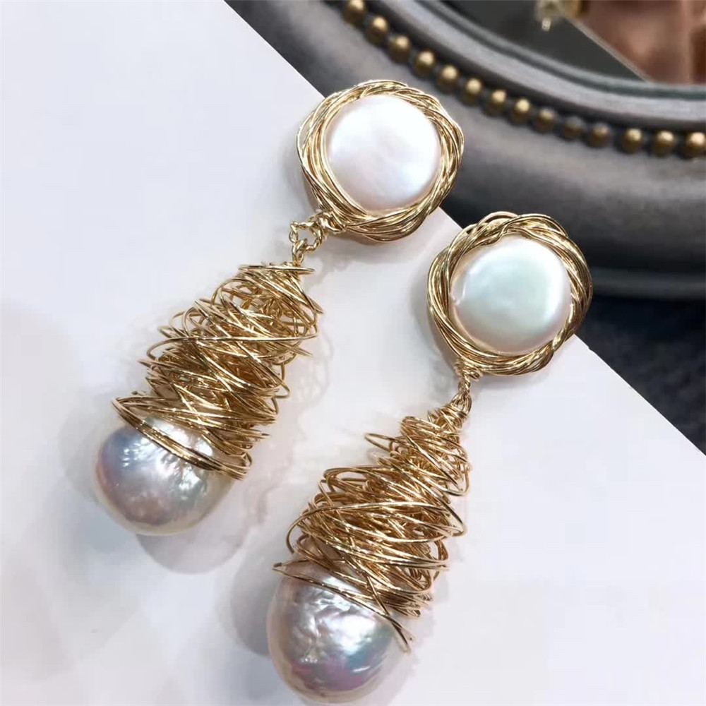hand made fine jewelry factory wholesale fashionable 14k gold wrap natural white pearl gemstone pendant earring 2