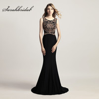 Vintage Sexy Long Black Evening Dresses With Jewel Sleeveless Zipper Back Prom Gowns Trumpet Sweep Train Tulle Embroidery CC444