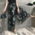 EKOOL Chiffon floral dupla culottes largas calças perna praia lazer verão calças saia temperamento feminino