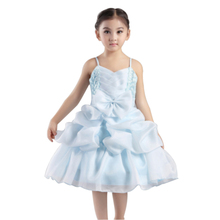 Free Shipping Cotton Lining Girl Party Dress Organza Pageant Ball Gowns For Kids 4-8 Years Blue Flower Dresses Weddings