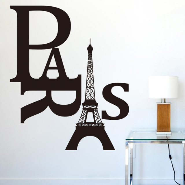 paris wall sticker eiffel tower wall decal quotes vinyl wall art