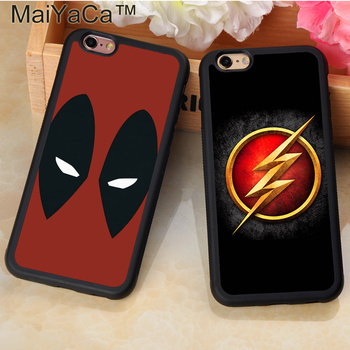 Marvel Avengers Superhero Deadpool Flash Phone Case Coque For iPhone 7 7 Plus 6 6S Plus 5 5S 5C SE 4S Soft Rubber Fundas Cases marvel glass iphone case