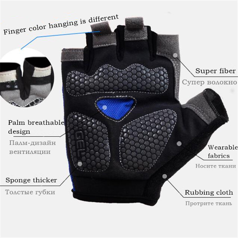 CKAHSBI Sport Cycling Gloves Half Finger Mens Women's Summer Sports Shockproof Bike Breathable Gloves GEL MTB Bicycle Gloves
