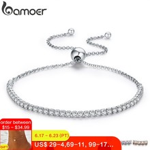 BAMOER Featured Brand DEALS 925 Sterling Silver Sparkling Strand Bracelet Women Link Tennis Bracelet Silver Jewelry SCB029(China)
