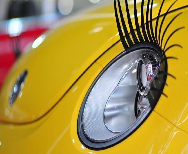 1 Pair Creative 3D Charming Black False Eyelashes Cute Fake Eye Lash Sticker Car Headlight Decoration Funny Decal For Beetle