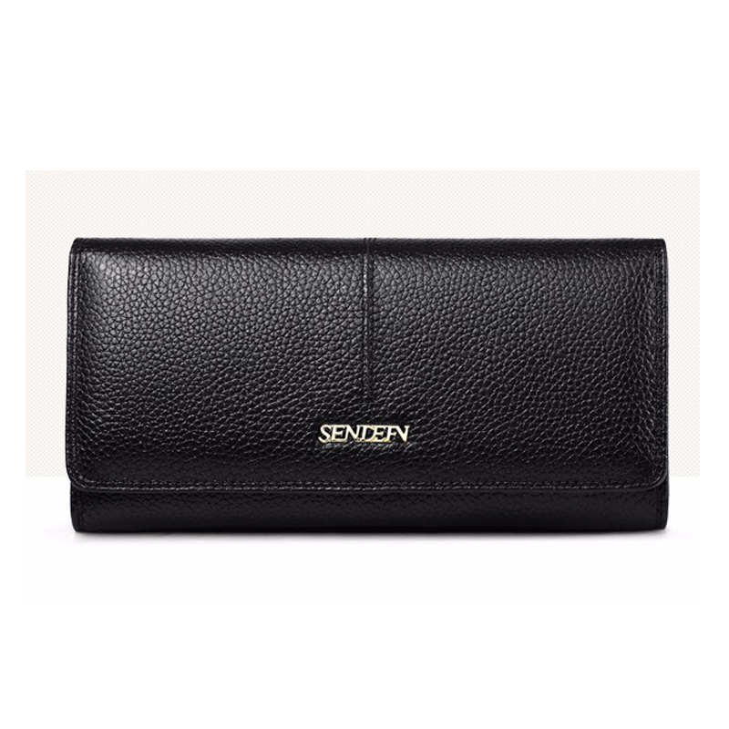 SENDEFN Damemote Ekte Lær Wallet Long Lady Purse Clutch Card Holder Telefon Lomme Female Wallets