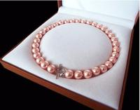 Rare Huge 12mm Genuine South Sea Pink Shell Pearl Heart Necklace Clasp 18