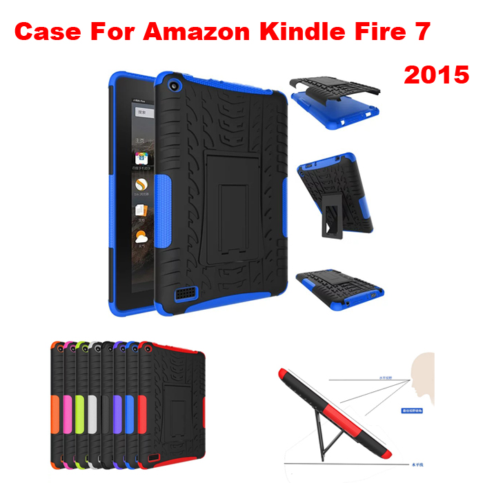 2 in 1 Rugged Armor Impact Hard Cover for Amazon Kindle Fire 7 2015 TPU+PC Shockproof Cover Cases with KickStand+screen film+pen