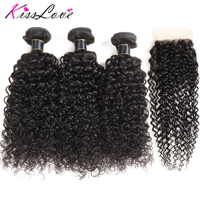 Kiss Love Brazilian Water Wave bundles With Lace Closure 4*4 Free Part Natural Dark Free Shipping Non-Remy