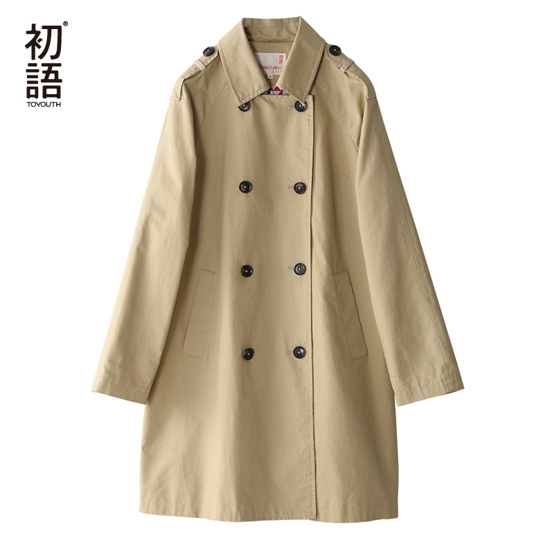 Toyouth British Style Women Long Trench Coat Double Breasted Cotton Outerwear Coats Ladies Casual Solid Slim Casacos Femininos