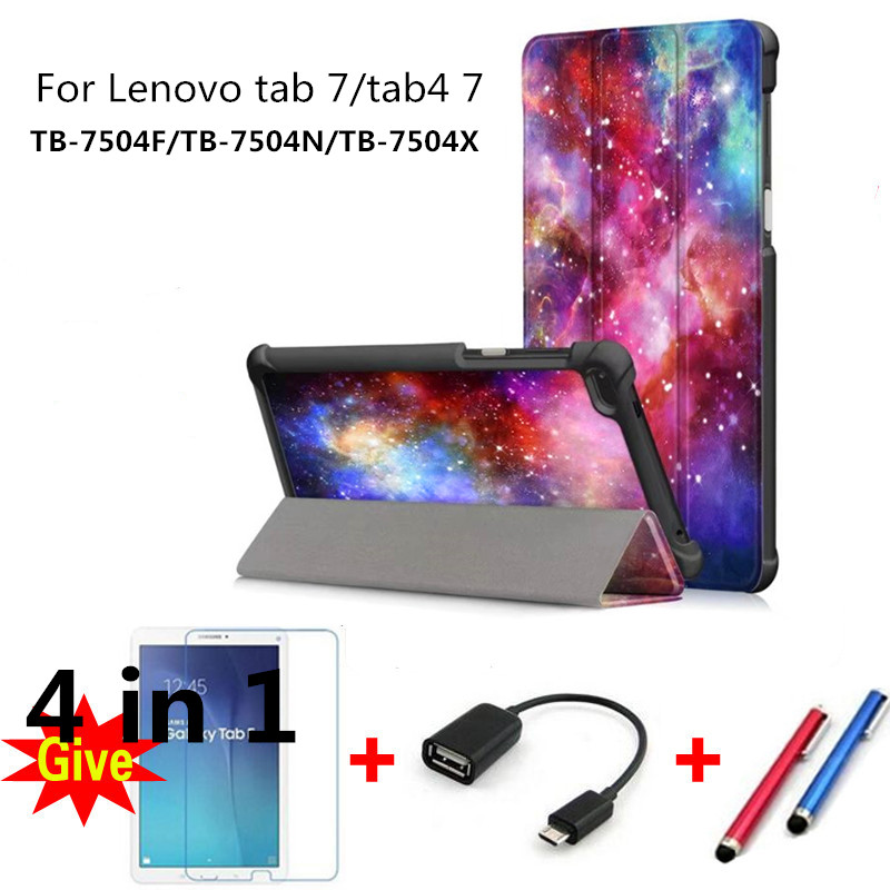 For 2017 Lenovo Tab4 Tab 4 7 inch Colorful drawing Leather Cases for TB-7504F TB-7504N/X tablet fundas