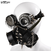 Steampunk Gothic Vintage Spikes Gas Mask Goggles Cosplay Props Halloween Costume Rivet Masks with Glasses Accessories Men/Women