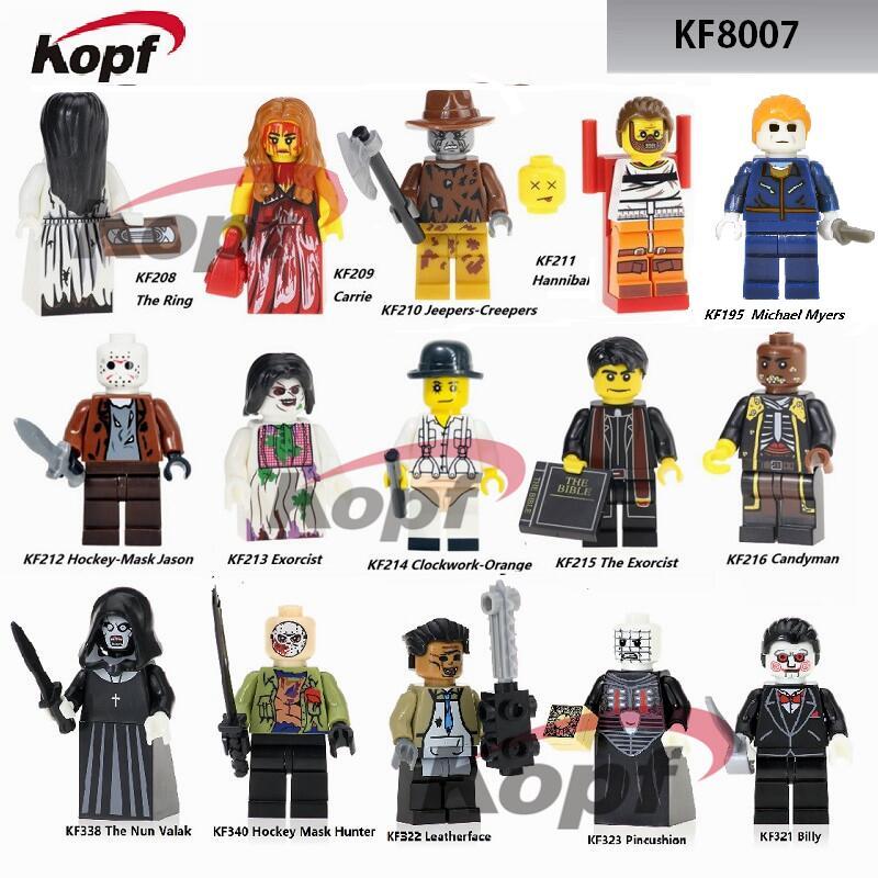 The Horror Theme Movie Michael Myers Billy Nun Valak Leatherface Hackey Mask Hunter Building Blocks Children Gift Toys KF8007